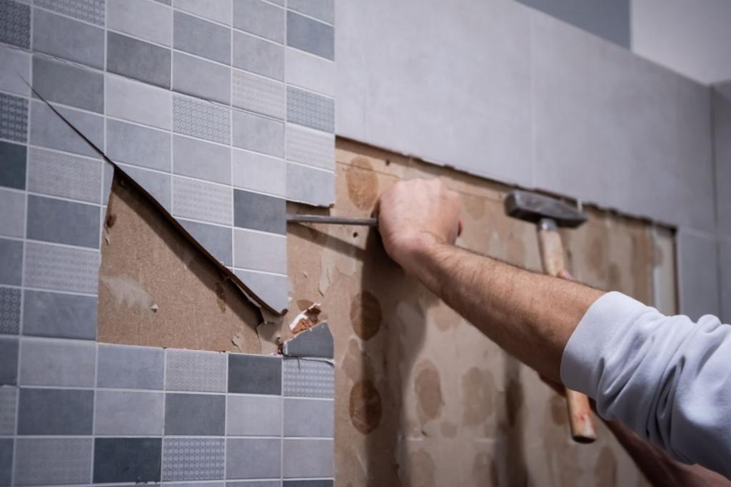 Person removing tiles