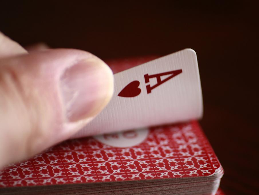 Ace of hearts being turned over